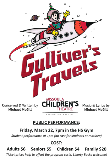 Gulliver's Travels, March 22, 7pm